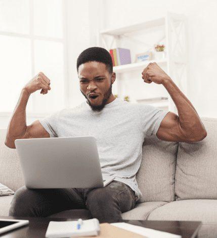 black man on computer