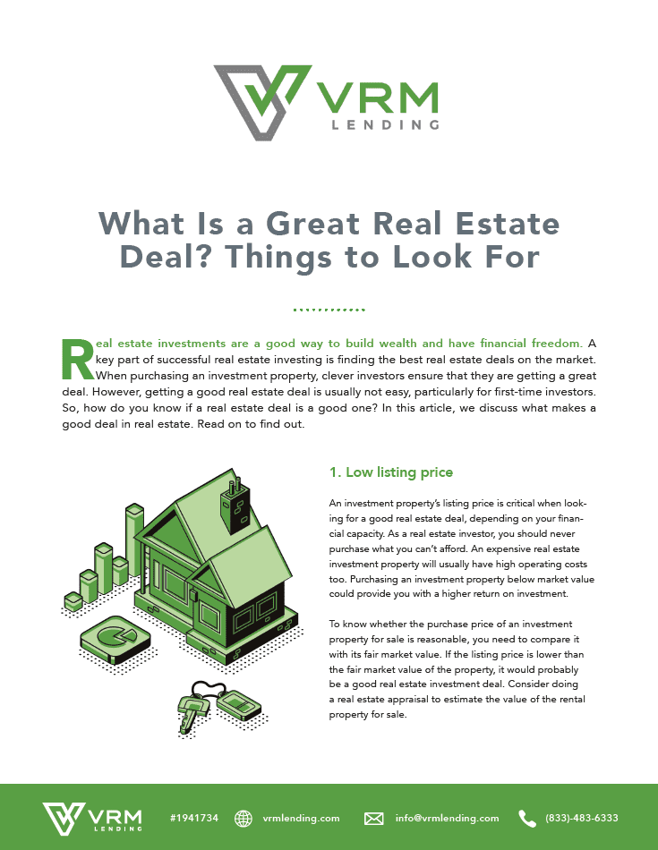 What is a good real estate deal  Download: What is a Great Real Estate Deal? Things to Look For
